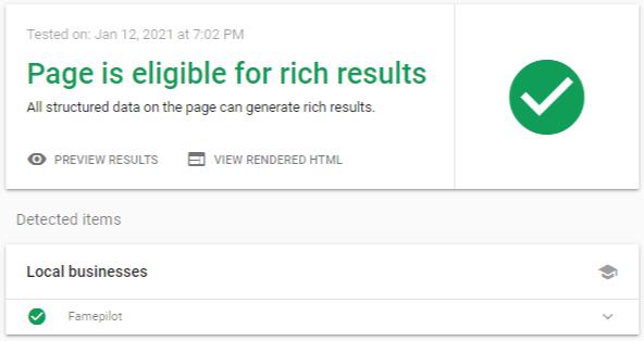 Rich-Results-Test-Google-Search-Console-Famepilot Screenshot